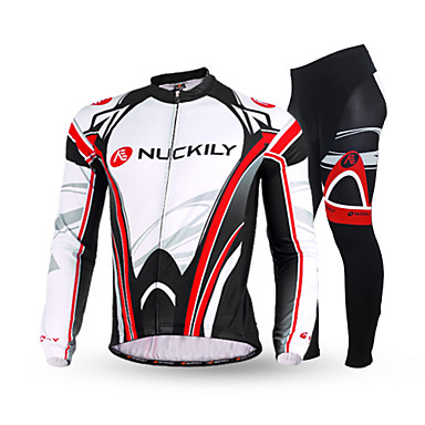 Nuckily Men's Long Sleeves Cycling Jersey with Tights - Black Bike Clothing Suits, Thermal / Warm, Anatomic Design, Fleece Lining,