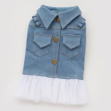 Köpek Elbiseler / Kurtki jeansowe Köpek Giyimi Kotlar Mavi Pamuk Kostüm Evcil hayvanlar için Yaz Kadın's Moda