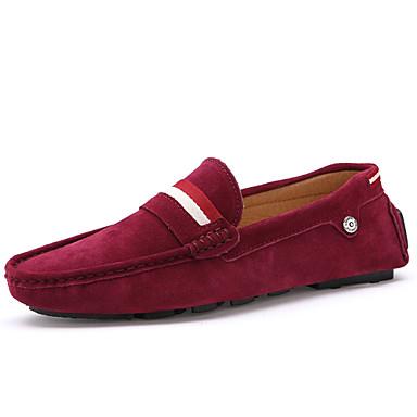 Férfi cipő Fordított bőr Tavasz Ősz Kényelmes Papucsok & Balerinacipők mert Hétköznapi Fekete Barna Piros Kék