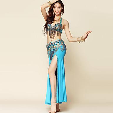 Göbek Dansı Kıyafetler Kadın's Performans Polyester / Splandeks Drape Etek / Sütyen / Kemer