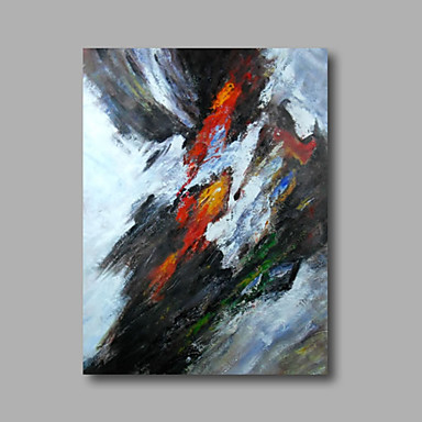 Ready to hang Stretched Hand-Painted Oil Painting on Canvas Wall Art Abstract Contempory Black Red One Panel