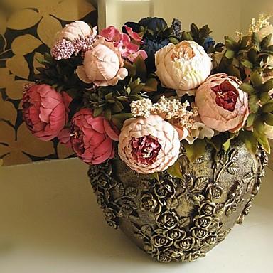 1 şube İpek Şakayıklar Masaüstü Çiçeği Yapay Çiçekler