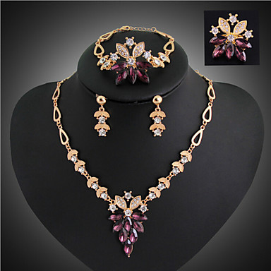 Rhinestone Jewelry Set Rings Earrings Necklace Bracelets & Bangles - Classic Fashion Jewelry Set For Wedding Party