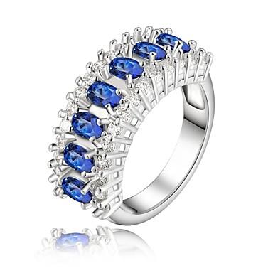 Mulheres Anel de declaração - Strass, Prata Chapeada Fashion 8 Azul Para Casamento / Festa / Diário / Cristal