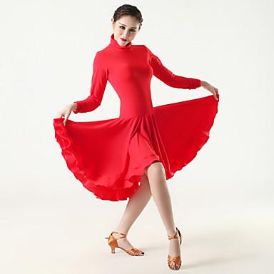 Női - Latin tánc - Ruhák ( Fekete / Piros / Zebra , Viszkóz , Redőzött )