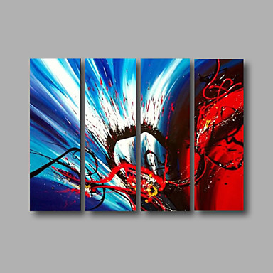 Ready to Hang Stretched Hand-Painted Oil Painting Four Panels Canvas Wall Art Modern Red Blue Black Abstract