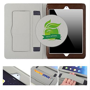 Case Kompatibilitás iPad Air 2 Kártyatartó Állvánnyal Automatikus készenlét / ébresztés Héjtok Tömör szín Valódi bőr mert iPad Air 2