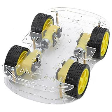 dual-layer 4-motor smart bil chassis m / hastighetsmåle kodet plate - svart + gul