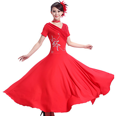 Ballroom Dance Dresses Women's Performance Chinlon Spandex Draped 2 Pieces Dress Neckwear