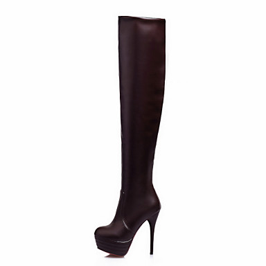 fcfbab7bb9d Women s Knee High Boots Synthetic Winter Basic Pump Stiletto Heel  50.8 cm    Thigh-high Boots White   Black   Brown