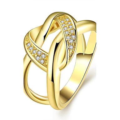 Mulheres Anel de declaração Zircão Zircônia Cubica Chapeado Dourado Rosa Folheado a Ouro Irregular Jóias de fantasia Casamento Festa
