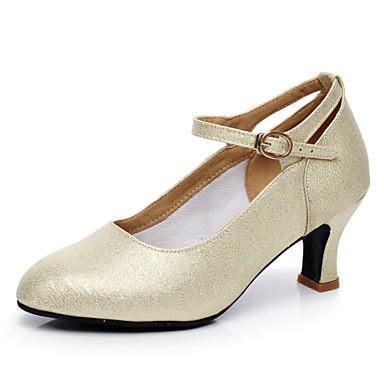 Women's Modern Shoes Flocking Heel Sparkling Glitter Dance Cuban Heel Non Customizable Dance Glitter Shoes Champagne / Silver / Indoor / Practice / Professional 380726