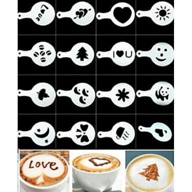 16PCS Plastic Fancy Coffee Making Printing Model Minimalist Design Dusting Pad