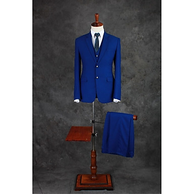 Royal Blue Solid Tailored Fit Cotton Blend Suit - Notch Single Breasted Two-buttons