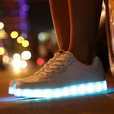 Tacón redondo Zapatos con luz Plano de para Zapatos PU Paseo Primavera deporte Dedo Zapatillas Otoño LED Confort 05457856 Cordón Con Unisex gZS7ww