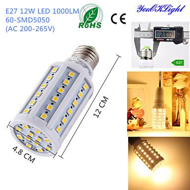 12W E26/E27 LED kukorica izzók T 60 SMD 5050 1000 lm Meleg fehér Dekoratív AC 220-240 V 1 db.