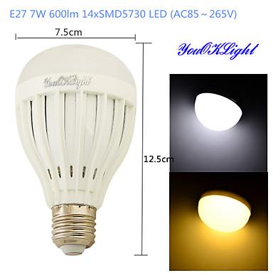 E26/E27 LED gömbbúrás izzók B 14 led SMD 5730 Dekoratív Meleg fehér Hideg fehér 600lm 3000/6000K AC 85-265V