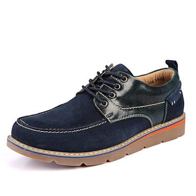 Miesten kengät Mokkanahka Kevät Syksy Comfort Oxford-kengät Split Joint varten Kausaliteetti Toimisto & ura ulko- Harmaa Sininen Tumman