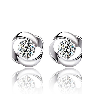 Kadın's Kristal Vidali Küpeler - Som Gümüş, Kristal, Gümüş Moda Gümüş Uyumluluk Düğün / Parti / Günlük