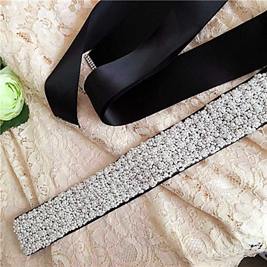 Satin Wedding Party / Evening Dailywear Sash With Beading Pearl Women's Sashes