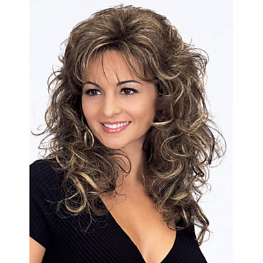 Synthetic Hair Wigs Curly Wavy Capless Carnival Wig Halloween Wig Medium Brown