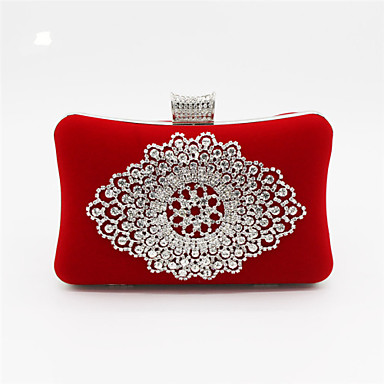 Women's Bags Satin Evening Bag Beading Crystal/ Rhinestone for Wedding Event/Party Black Red