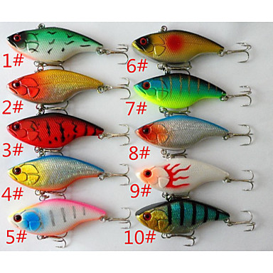 10 pcs Hard Agn / Sluk Hard Lokkemat / Vibrering Hard Plastikk Søfisking / Generelt fisking / Trolling- & Båtfiskeri