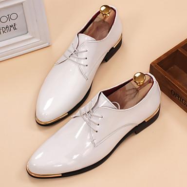 Férfi cipő Bőrutánzat Tavasz Nyár Ősz Tél Kényelmes Félcipők Fűző Kompatibilitás Hétköznapi Fehér Fekete Sárga Piros Kék