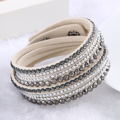 cheap Bracelets-Women's Crystal Layered Stacking Stackable Wrap Bracelet Leather Bracelet Leather Rhinestone Imitation Diamond Ladies Luxury Unique Design Fashion Multi Layer Bracelet Jewelry Beige / Purple / Light