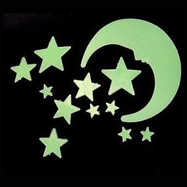 Alakzatok Falimatrica Világító falimatricák , PVC moon:8CM,   big star:4.4CM   small stadr:3.5CM