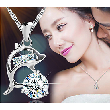 Women's Crystal Pendant Necklace - Sterling Silver, Crystal, Silver Dolphin, Animal Fashion Silver Necklace For Party, Daily, Casual