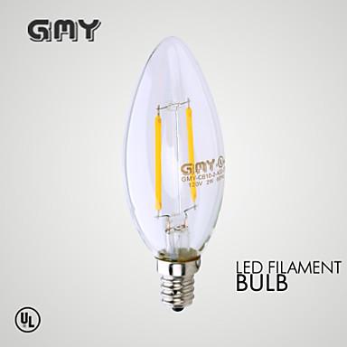 E12 Luzes de LED em Vela B 2 COB ≥200 lm Branco Quente Decorativa AC 110-130 V 1 pç