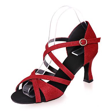 נעליים לטיניות נצנצים סנדלים עקב רחב מותאם אישית נעלי ריקוד כסף / אדום / כחול / הצגה / עור