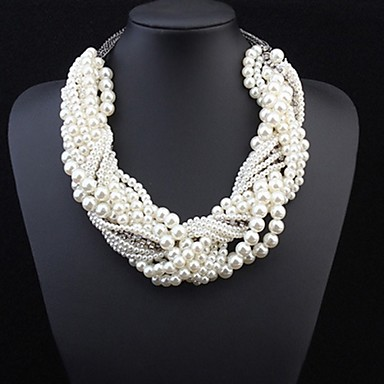 cheap Religious Jewelry-Women's Pearl Layered Twisted Statement Necklace Pearl Statement Ladies Luxury White Necklace Jewelry For Wedding Party Special Occasion Cosplay Costumes