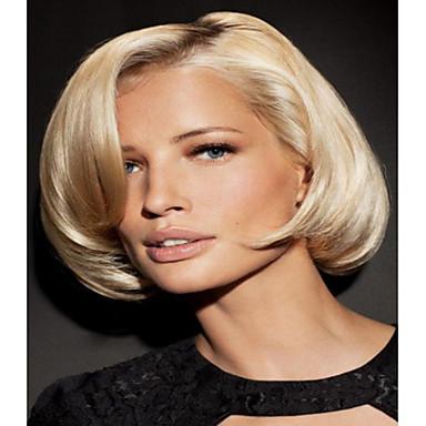 Sentetik Peruklar Dalgalı Bob Saç Kesimi Sentetik Saç Peruk Kadın's Bonesiz