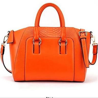Women Tote PU Outdoor Shopper Zipper White Black Orange