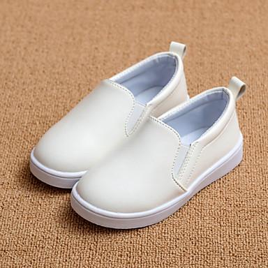 Kényelmes-Lapos-Női cipő-Papucsok & Balerinacipők-Esküvői Szabadidős Ruha Alkalmi Party és Estélyi-Bőrutánzat-Fekete Rózsaszín Fehér