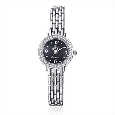 בגדי ריקוד נשים שעוני אופנה שעון צמיד שעון יד קווארץ סגסוגת להקה כסף