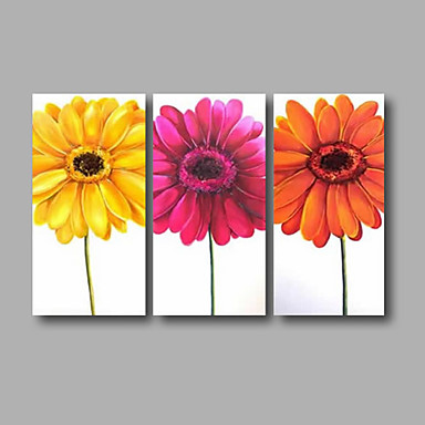 Hand-Painted Floral/Botanical Horizontal, Modern Canvas Oil Painting Home Decoration Three Panels