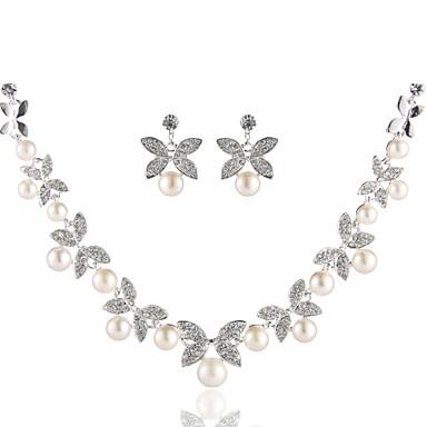 Női Rövid nyakláncok - Gyöngyutánzat, Hamis gyémánt Alap Ezüst Nyakláncok Ékszerek Kompatibilitás Esküvő, Parti, Születésnap / Eljegyzés