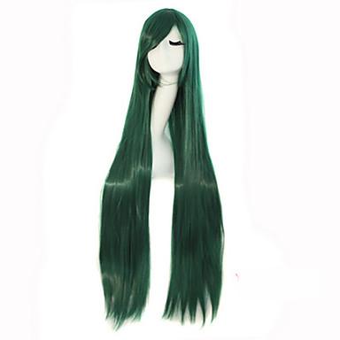 Perucas sintéticas Liso Densidade Sem Touca Mulheres Verde Peruca de carnaval Peruca de Halloween Longo Cabelo Sintético