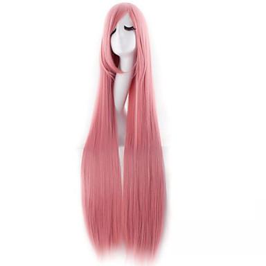 Syntetiske parykker / Kostymeparykker Rett Syntetisk hår Lyserød Parykk Dame Veldig lang Halloween parykk / Karneval Parykk Lokkløs