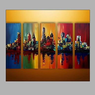 Kézzel festett Absztrakt tájképModern Öt elem Vászon Hang festett olajfestmény For lakberendezési