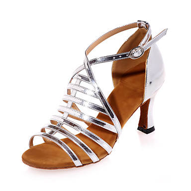 Women's Latin Leatherette Sandal Indoor Performance Practice Flared Heel Silver Gold 2