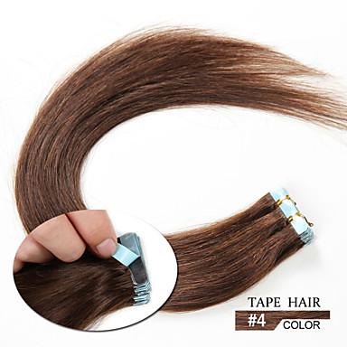 20шт 1.5-2g / 16-24inch бразильская лента человеческих волос расширение # 4 ленты в наращивание волос человека 006 шт