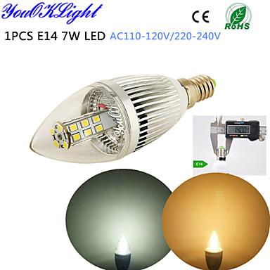 5W E14 LED svjećice C35 28 LED diode SMD 2835 Ukrasno Toplo bijelo Hladno bijelo 400-450lm 3500/6500K AC 220-240 AC 110-130V