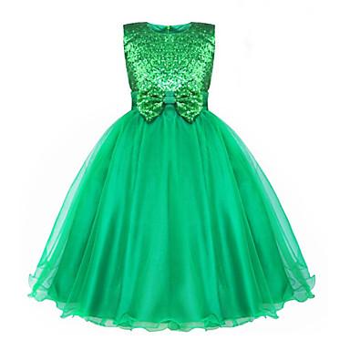 Χαμηλού Κόστους Φορέματα για κορίτσια-Νήπιο Κοριτσίστικα Επίσημο ρούχο Ζακάρ Αμάνικο Το μανίκι μέγεθους S είναι 61 εκ (Το μήκος του μανικιού αυξάνεται 1 εκ με κάθε μεγαλύτερο μέγεθος) Βαμβάκι Πολυεστέρας Φόρεμα Πράσινο