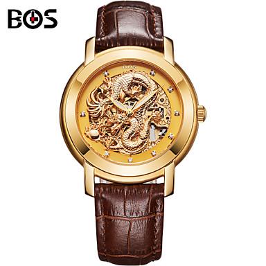 AngelaBOS 남성 손목 시계 중공 판화 오토메틱 셀프-윈딩 가죽 밴드 브라운