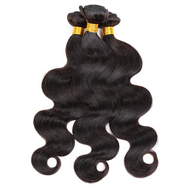 Peruvian Hair Body Wave Human Hair Weaves 3 Pieces 0.3