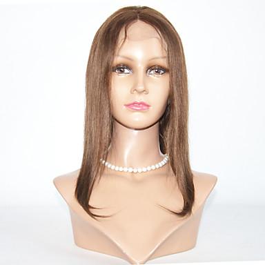 人毛 フルレース かつら ストレート 130% 密度 ナチュラルヘアライン / ブラックアメリカン風ウィッグ / 100%手作業縫い付け 女性用 ショート / ミディアム 人毛レースウィッグ